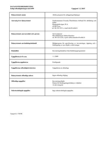 Datasystembeskrivning för anläggningstillgångar