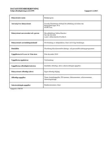 Datasystembeskrivning för bankprogram