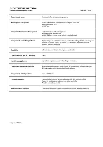 Datasystembeskrivning för Kommun Office