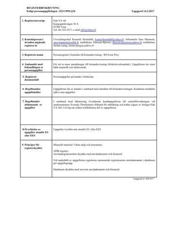 Personregister (Anmälan till körundervisning / RS Form Pro)