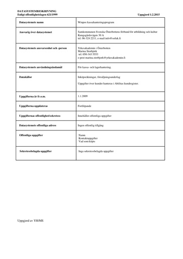 Registerbeskrivning för Winpos kassahanteringsprogram
