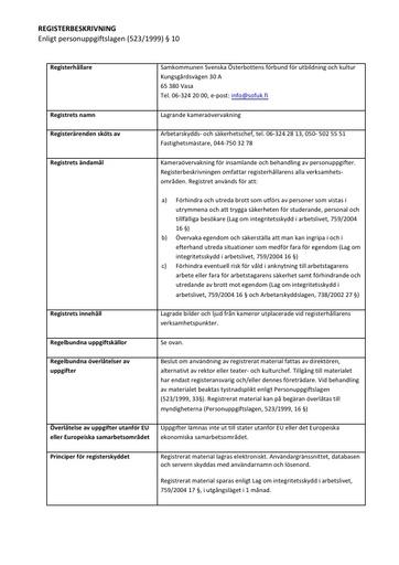 Registerbeskrivning för kameraövervakning