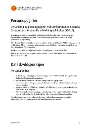 Personuppgifter och dataskyddsprinciper 2019